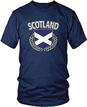 Amdesco Men's Scotland Flag Shield, Scottish Pride T-Shirt