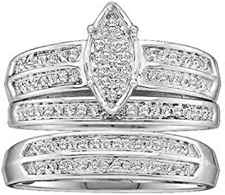 Dazzlingrock Collection 0.25 Carat (ctw) 14K Gold Round Diamond Men & Women's Engagement Ring Trio Set 1/4 CT
