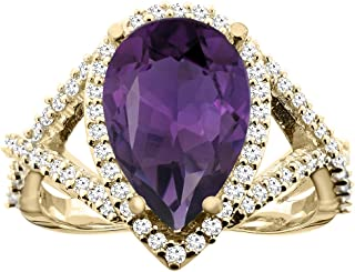 14K White/Yellow/Rose Gold Natural Amethyst Ring Pear 12X8mm Diamond Accent, sizes 5 - 10