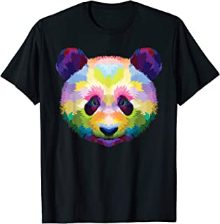 Panda's head Shirt : Colorful Panda Pop Art Style T-Shirt
