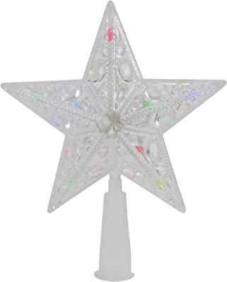 """Northlight 6"""" Clear Crystal Jeweled Star LED Lighted Christmas Tree Toppers, Multi-Colored"""