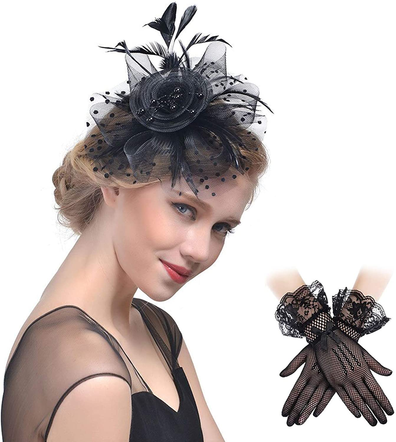Fascinators Headband Cocktail Feathers Hair Clip,with1 Pair Black Lace Gloves