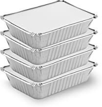 [50 Pack - 2.25 lb.] Foil Pans with Cardboard Lids - MADE IN USA - Disposable Aluminum Foil Take-Out Containers with Lids