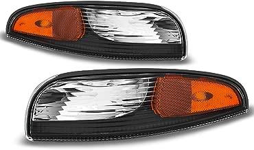 For 1997-2004 Chevrolet Corvette Driver + Passenger Black Replacement Bumper Signal Parking Lights Lamps
