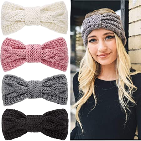 Women Men Headband Wool Blend Handmade Wide Crochet Knitting Stretch Headwrap