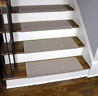 Dean Modern DIY Peel and Stick Bullnose Wraparound Non-Skid Carpet Stair Treads - New Suede Beige 30