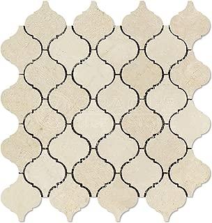 Crema Marfil Spanish Marble Lantern Arabesque Mosaic Tile, Polished