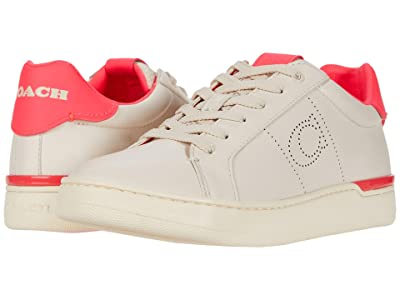 COACH Lowline Low Top (Chalk/Neon Pink Smooth Leather) Women