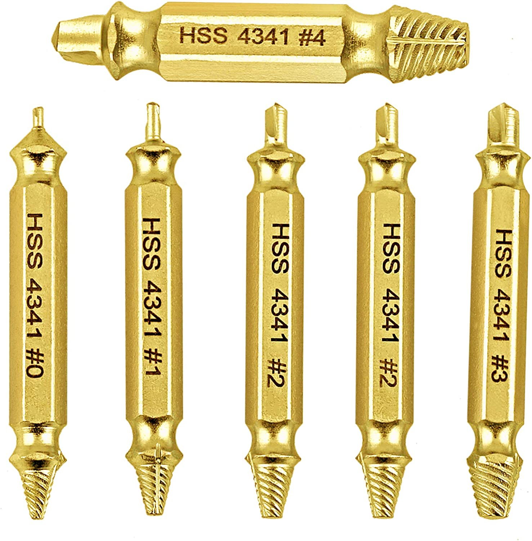 Demason 6 Pcs Extractor de Tornillos Dañados, Extractor de Tornillos de HSS4341, Broca de Extracción, Brazo Extensor para Taladro Eléctrico, para Extraer Tornillos Pernos Dañados(Diámetro de 2-12mm)