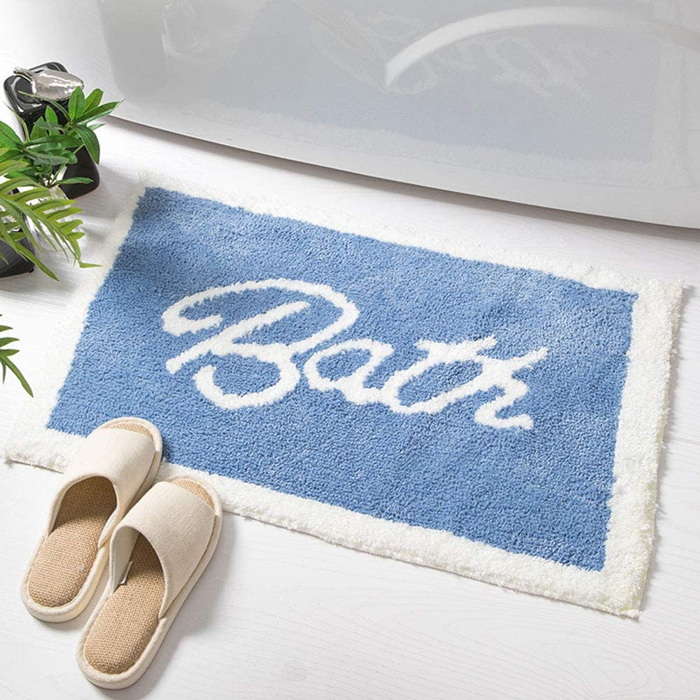 IcosaMro Bathroom We OFFer at cheap prices Max 55% OFF Rugs Blue Bath Soft for Rug Non-Slip