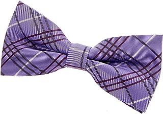 Retreez Tartan Plaid Check Styles Woven Microfiber Pre-tied Bow Tie (4.5