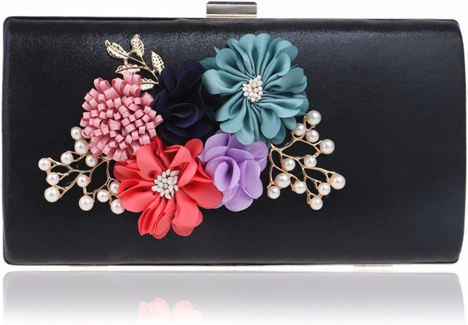 XJTNLB European and American New Flower Evening Dress Ladies Bag Luxury Dinner Clutch,Black