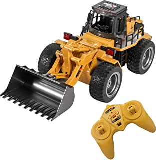 RC Truck Alloy Shovel Loader Tractor 4 Wheel Bulldozer Front Loader Vehicle Construction Car Playset and Cool car for 3 4 ...