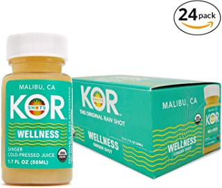 Kor Shots Wellness - Certified by Organic Certifiers Cold Pressed, Ginger, Vitamin-C, Invigorating Energy Juice Shot- 24 Pack