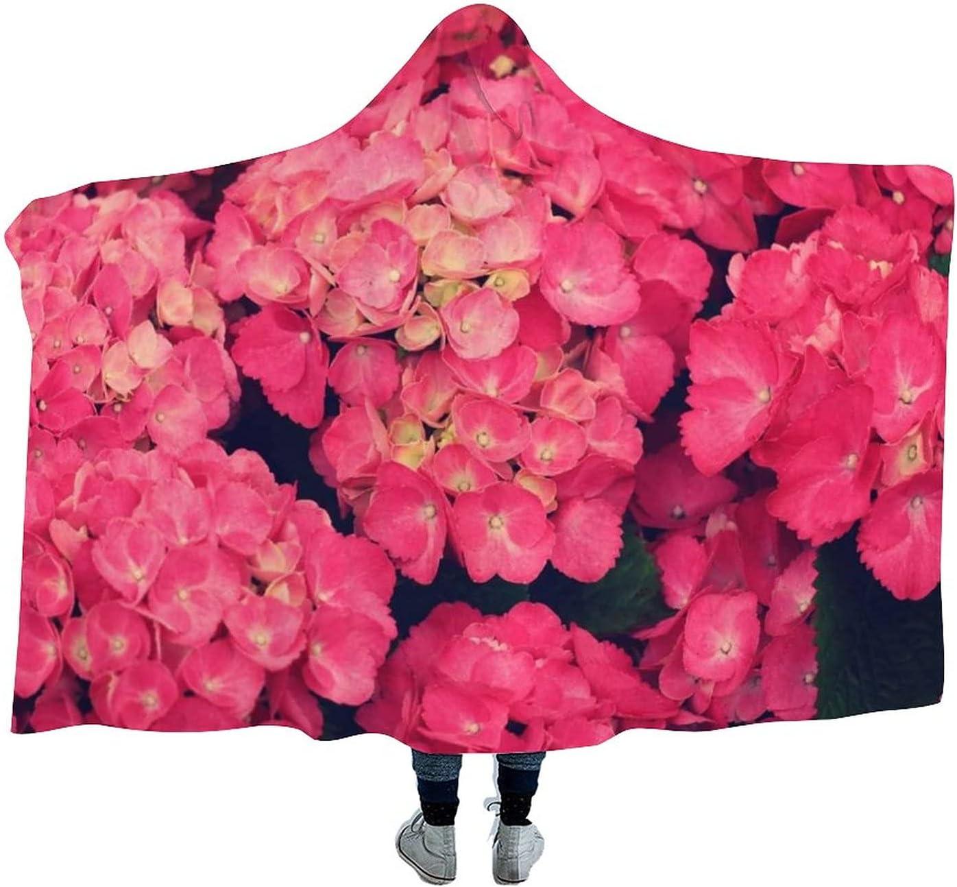 Red Boston Mall Flowers Wearable Velvet Hooded New popularity War Super Blanket Throw Soft