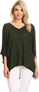 Made By Johnny Womens Lightweight Batwing Sleeve Oversized Knit Top