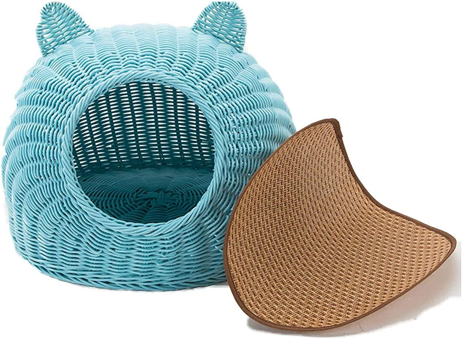 Cute Style Cat Bed for Indoor Cats  a Covered Modern Cat Hideaway Hut of Rattan Houses Pets in Dome Basket, Washable (color   bluee, Size   M)