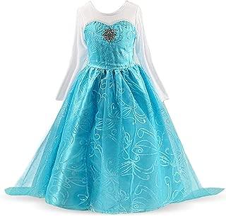 HNXDYY Princess Girls Elsa Costume Party Carnival Long Tail Fancy Dress Up
