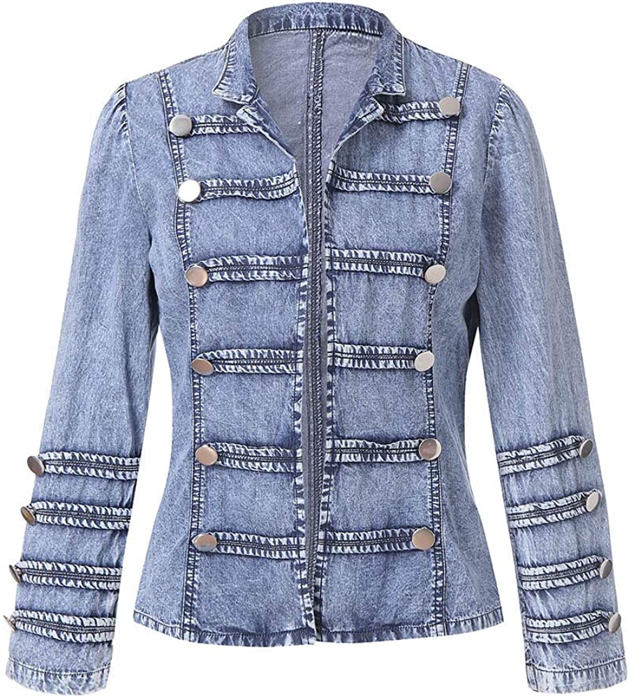 NEW Classic Womens Cowboy Long Sleeve Button Double Ranking TOP8 Row Jacket Denim