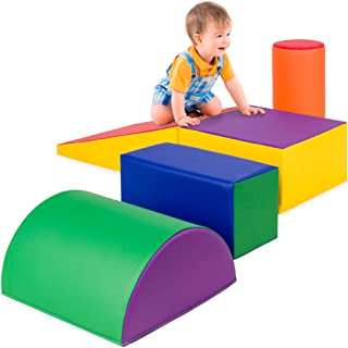 Best Choice Products 5-Piece Kids Climb & Crawl Soft Foam Block Playset Structures for Child Development, Motor Skills