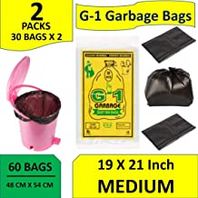 G-1 19X21-60 Pcs - Garbage Bags Medium Size Black Disposable Trash Waste Dustbin Bags of 54Cm X 48Cm