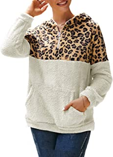 MsLure Women's Oversized Leopard Fuzzy Fleece Pullover Hoodies Loose Half Zip Hooded Sweatshirt with Pocket