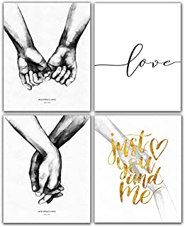Yujohom Nordic Black White Style Sweet Love Wall Art Canvas Poster 8x10 Unframed Set of 4 Prints Minimalist Print LOVE Quotes Painting Picture for Living Room D�cor