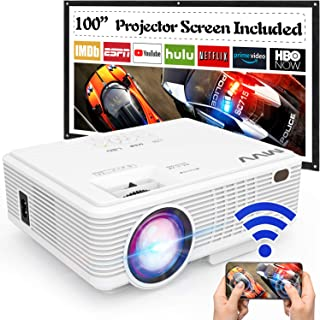 MVV Upgraded 1080P WiFi Projector, [180ANSI--Over 6500 Lux] Outdoor Projector with 100'' Screen Mini Portable Projector Sy...