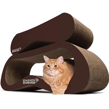 Friends Forever Jumbo Cat Scratcher Cardboard Lounge, 2 in 1 Cat Scratching Post - Corrugated Ergonomic Cardboard Scratch Lounge Post Angled