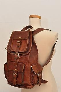 18 Genuine Leather Retro Rucksack Backpack College Bag,School Picnic Bag Travel By Gbag (T)