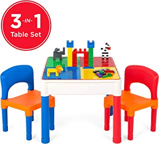 Best Choice Products 3-in-1 Kids Activity Recreational Play Table Set with Building Block Table, Craft Table, Water Table, Storage Compartment, 2 Chairs, Multicolor