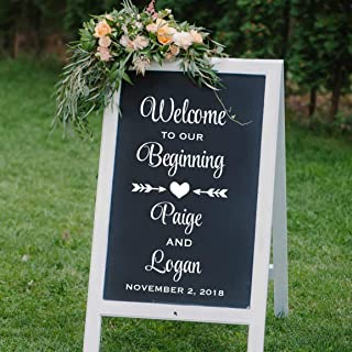 Welcome To Our Beginning, Personalized Welcome Wedding Decal, Reception Welcome Sticker, DECAL ONLY
