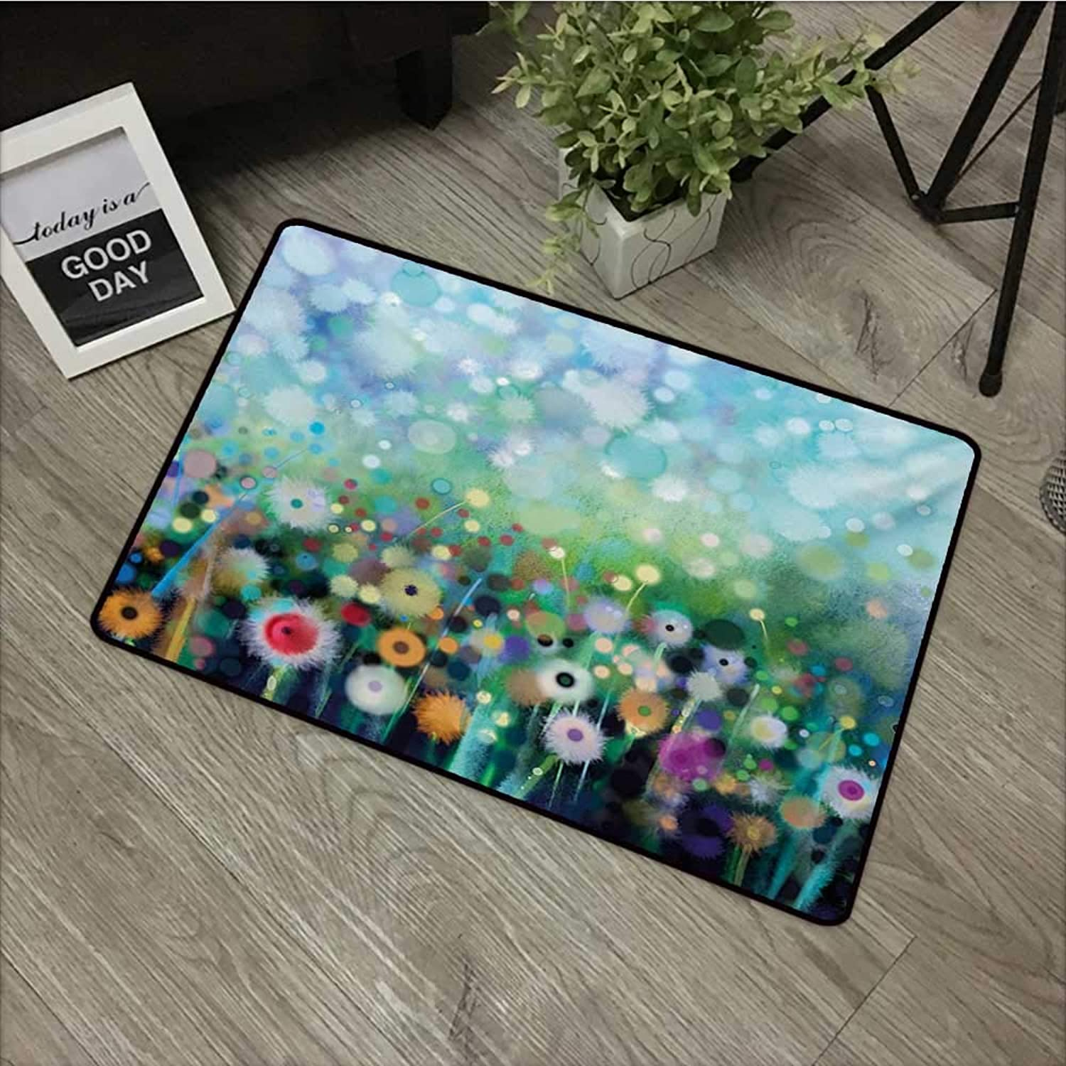 Interior Door mat W35 x L59 INCH Flower,Dandelion Seeds in Air Splashes Pollination Time Mother Earth Growing Giving Life,Multicolor Easy to Clean, no Deformation, no Fading Non-Slip Door Mat Carpet