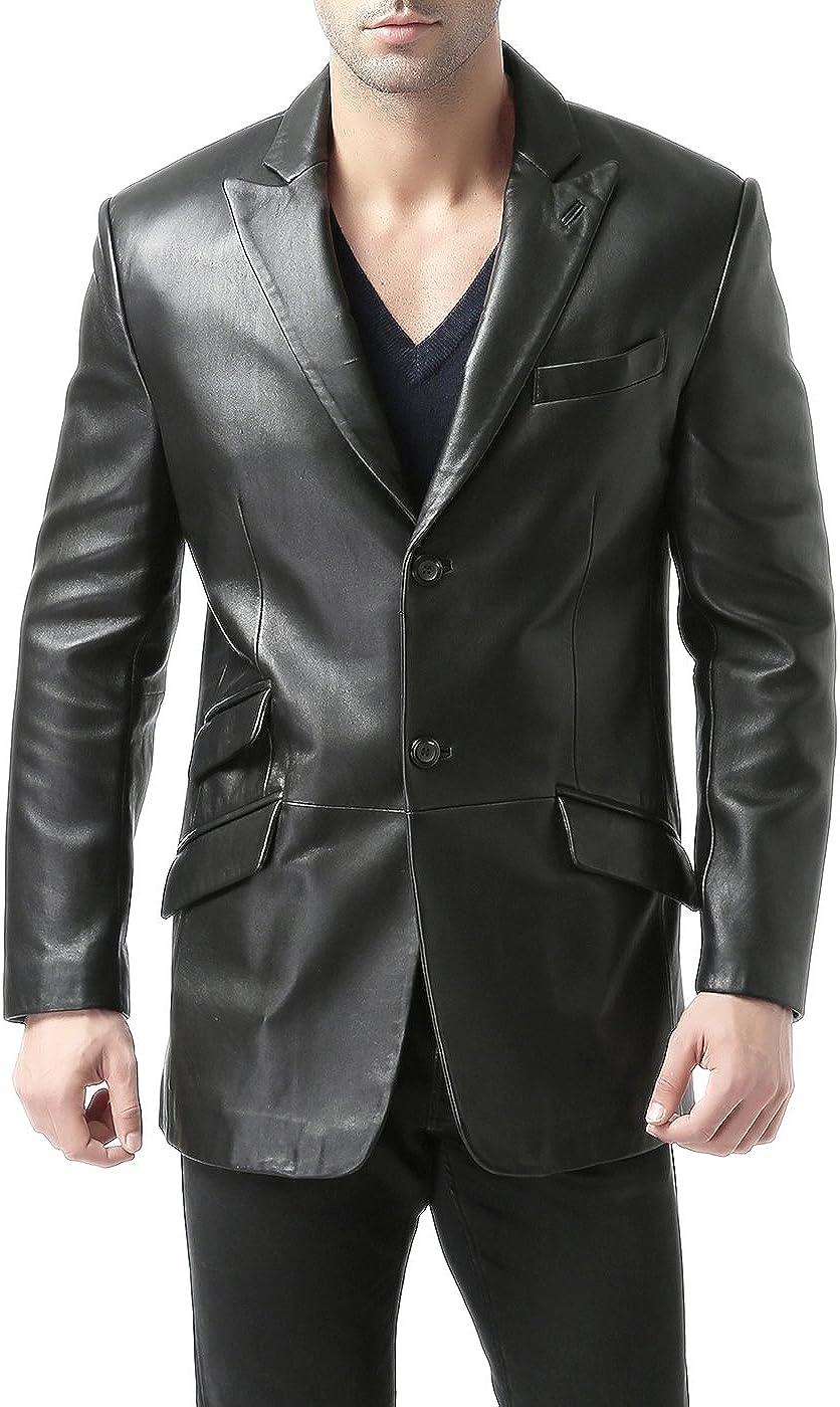 BGSD Men's Noah 2-Button Leather Blazer Lambskin Sport Coat Jacket Black Big and Tall 2XLT