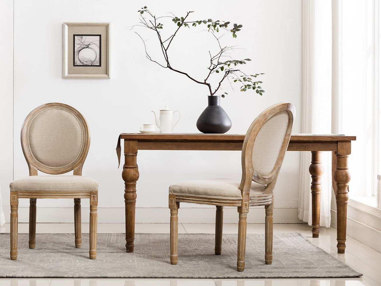Buy French Retro Dining Chairs, Distressed Wood Chairs with Round ...