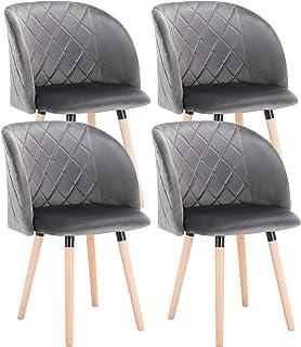 EUGAD Set de 4 Sillas Comedor Vintage Diseño Sillas Nórdicas Moderna de Terciopelo Patas de Madera Silla de Cocina Silla Tulip Gris Oscuro