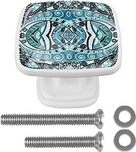 4 STKS Vierkante Glazen Deur Knoppen Kast Kast Handvat Lade Trek Handvat met Schroef Vintage Mandala