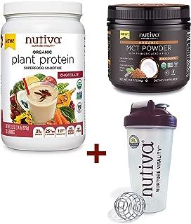 Nutiva Keto Bundle with Organic Plant Protein, MCT Powder, and Shaker Bottle (Chocolate)