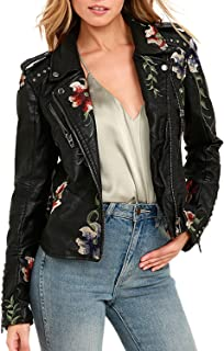Women's Long Sleeves Faux Leather Zipper Jacket Coat Embroidery Floral Pu Leather Outwear