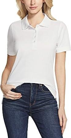 TSLA Women's Cotton Pique Polo Shirts, UPF 50+ Moisture Wicking Short Sleeve Casual Shirts, Performance Stretch Golf Shirt