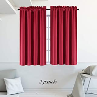 DONREN 45 Inch Chili Red Curtains Blackout Drapes for Loft - Room Darkening Thermal Insulated Solid Rod Pocket Panels for Gift,2 Panels