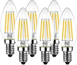 LVWIT Bombillas Vela de Filamento LED E14 (Casquillo Fino) - 4W equivalente a 40W, 470 lúmenes, Color blanco cálido 2700K. Bombilla retro vintage, No regulable - Pack de 6 Unidades.