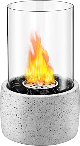 wholesale Tabletop Fire Pit, Tabletop discount Fireplace with Glass Stone, Concrete Material and Windproof Glass Cover, online Ethanol Fireplace for Valentine's Day, Birthday, Party and Dining, FP1(Black) online