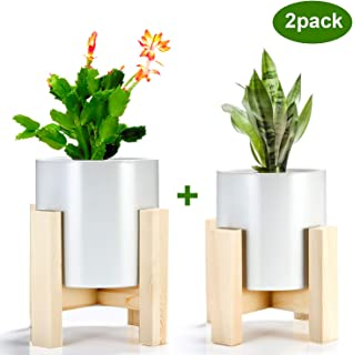 Indoor Plant Stand with Pots, ZOUTOG Mid Century Planter Stands, Beech Plant Stand for Indoor & Outdoor Use, Pots are Included, Pack of 2