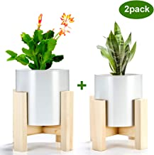 Indoor Plant Stand with Pots, ZOUTOG Mid Century Planter Stands, Beech Plant Stand for..
