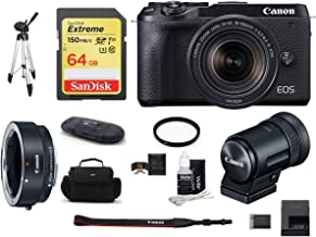 $1329 » Canon EOS M6 Mark II Mirrorless Digital Camera (Black) with 18-150mm Lens and EVF-DC2 Viewfinder (Black) Bundle, Includes: Canon EF-M Lens Adapter Kit + SanDisk 64GB Extreme Memory Card (9 Items)