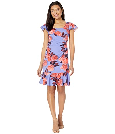 Adrianna Papell Photo Floral Flounce Dress (Peri/Coral) Women