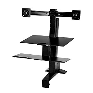 Amazon Basics - Standing desk ergonomico con workstation per due monitor