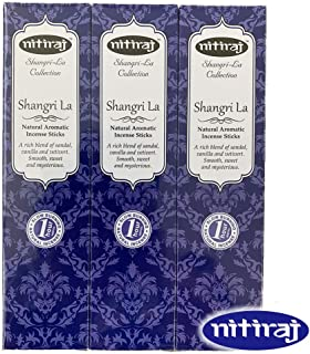 お香 アロマインセンス Nitiraj(ニティラジ)一番人気の香り シャングリ・ラ 3箱セット(30本/1箱10本入り)100%天然素材