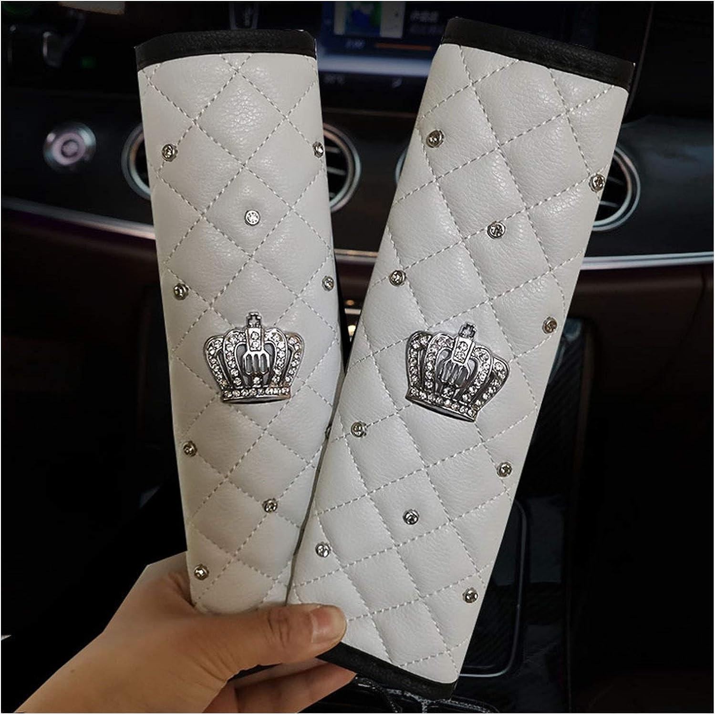 KGASYUI Car Seat Belt Max 79% OFF Pads Genuine 2PCS Crystal Fashion Rhinestone Crown